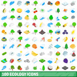 100 ecology icons set, isometric 3d style. 100 ecology icons set in isometric 3d style for any design vector illustration Royalty Free Stock Photo