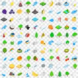 100 ecology icons set, isometric 3d style. 100 ecology icons set in isometric 3d style for any design vector illustration Stock Photos