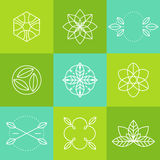 Ecology icons set labels organic natural vector Stock Photo