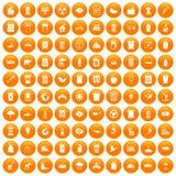 100 ecology icons set orange. 100 ecology icons set in orange circle isolated on white vector illustration Royalty Free Stock Images