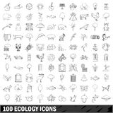 100 ecology  icons set, outline style Royalty Free Stock Photo