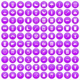100 ecology icons set purple. 100 ecology icons set in purple circle isolated on white vector illustration Royalty Free Stock Photo
