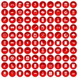 100 ecology icons set red. 100 ecology icons set in red circle isolated on white vector illustration Stock Photo