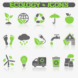 Ecology icons set. Set of 15 Ecology icons with reflection. Vector EPS10 vector illustration