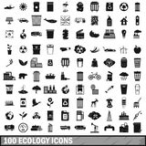 100 ecology icons set, simple style. 100 ecology icons set in simple style for any design vector illustration Stock Images