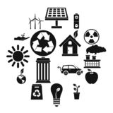 Ecology icons set, simple style. Ecology icons set in simple style. Environmental, recycling, renewable energy, nature elements set collection illustration royalty free illustration