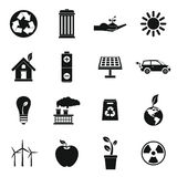 Ecology icons set, simple style. Ecology icons set in simple style. Environmental, recycling, renewable energy, nature elements set collection vector Stock Illustration