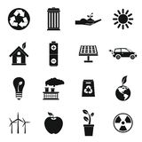 Ecology icons set, simple style. Ecology icons set in simple style. Environmental, recycling, renewable energy, nature elements set collection illustration stock illustration