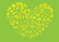 Ecology icons to form into a heart shape Royalty Free Stock Photo