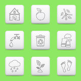Ecology icons, web buttons. Ecology thin line icons on web buttons vector illustration