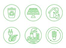Ecology icons with White Background. Illustrated icons on the theme of ecology, in a simple linear style Royalty Free Stock Photos