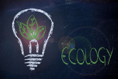 Ecology ideas & reneawable energy. Green leaves growing inside lightbulb, symbol of new ideas for the green economy and reneweable energy Royalty Free Stock Photos