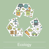 Ecology illustration with eco icons Stock Images