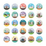 Ecology, Industry, City, and Countryside Flat Icons Pack royalty free illustration