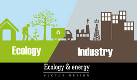 Ecology and industry. Collage design vector illustration Stock Photography