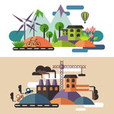 Ecology and industry concept Royalty Free Stock Image