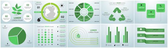 Ecology info graphics collection - sustainable concept - charts, symbols, graphic elements royalty free illustration