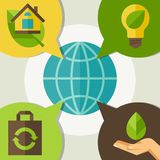 Ecology infographic with environment icons. Ecology infographic with environment, green energy and pollution icons Stock Photography