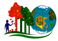 Ecology Infographic 1. A global problem logging and forest destruction on the planet Stock Photo