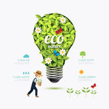 Ecology infographic green bulb shape with farmer template design Stock Photos