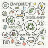 Ecology infographic hand draw icons. Stock Image