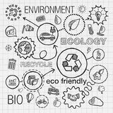 Ecology infographic hand draw icons. Vector sketch Royalty Free Stock Images