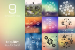 Ecology infographic with unfocused background Stock Photo
