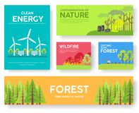 Ecology information cards set. Ecological template of flyear, magazines, posters, book cover, banners. Eco infographic. Concept background. Layout illustrations Royalty Free Illustration
