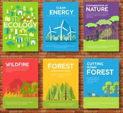 Ecology information cards set. Ecological template of flyear, magazines, posters, book cover, banners. Eco infographic. Concept  background. Layout Stock Images