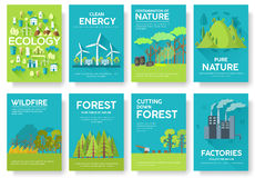 Ecology information cards set. Ecological template of flyear, magazines, posters, book cover, banners. Eco infographic. Concept background. Layout illustrations Vector Illustration