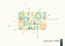 Ecology integrated thin line symbols. Royalty Free Stock Image
