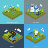 Ecology Isometric Compositions. With green energy production environment pollution biofuel waste recycling isolated vector illustration Stock Photos