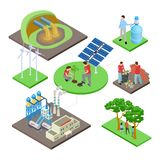 Ecology isometric concept with green technologies, nature revival, water and air pollution vector illustration. Eco energy and ecology, wind power and vector illustration