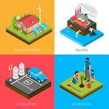 Ecology Isometric Design Concept. With eco housing, industrial pollution, refusal of fuel, nature revival isolated vector illustration Royalty Free Stock Photo