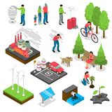 Ecology Isometric Set. With green energy, air and water pollution, electric car, nature revival isolated vector illustration Royalty Free Stock Photos