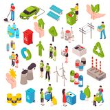 Ecology And Garbage Isometric Set. Ecology isometric set with people involved in cleaning environment waste bags solar panels wind turbines isolated vector Royalty Free Stock Photography