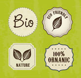 Ecology labels. Over green background vector illustration Royalty Free Stock Photography