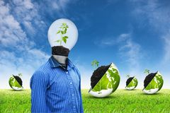 Ecology lamp on grass sky background Stock Photo