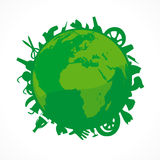 Ecology land. Bionomics of earth vector logo. Environmental sign. Vector organic green world icon. Ecology problem pollution. Natural green globe symbol with a Royalty Free Stock Images