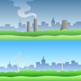 Ecology landscape city silhouette nature illustration Stock Image