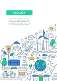 Ecology - line design brochure poster template A4 Royalty Free Stock Image