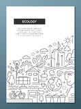 Ecology - line design brochure poster template A4 Stock Photo