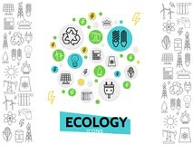 Ecology Line Icons Concept. With energy safety eco electricity and environmental outline elements isolated vector illustration Royalty Free Stock Images