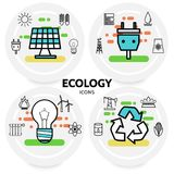 Ecology Line Icons Concept Stock Image