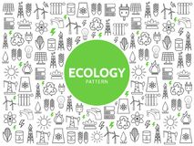 Ecology Line Icons Pattern. With energy safety electricity environmental resource eco elements and symbols vector illustration Royalty Free Stock Photo