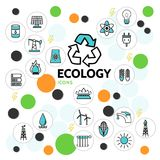 Ecology Line Icons Set. With oil barrel solar panel electric bulb socket battery tap drilling rig windmill trash radiator sun recycle isolated vector Stock Photography