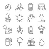 Ecology line Icons wind nuclear and solar power or renewable green energy. Vector stock illustration