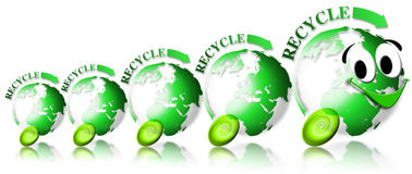 Ecology locomotive recycle. Locomotive and train consisting of 4 green globes with the word recycle and smiling face Royalty Free Stock Photos