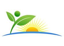 Ecology logo. Illustration of ecology logo design isolated on white background royalty free illustration