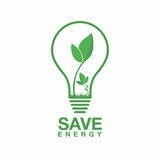Ecology logo. Energy saving lamp symbol, icon. Eco friendly concept for company logo. Stock Image
